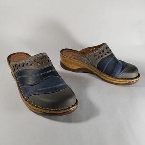 Josef Seibel Gray & Blue Leather Slip on Mules